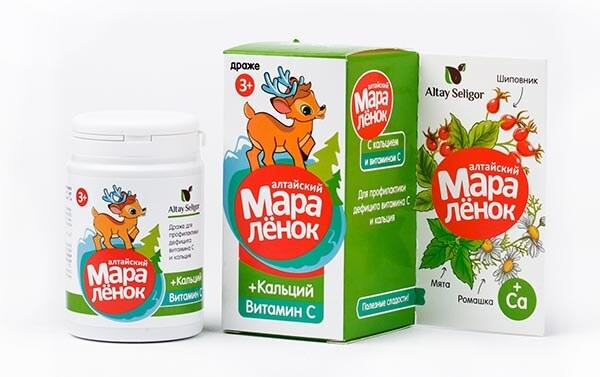 Драже «Алтайский Маралёнок» с витамином С  «Кальций» 70 гр