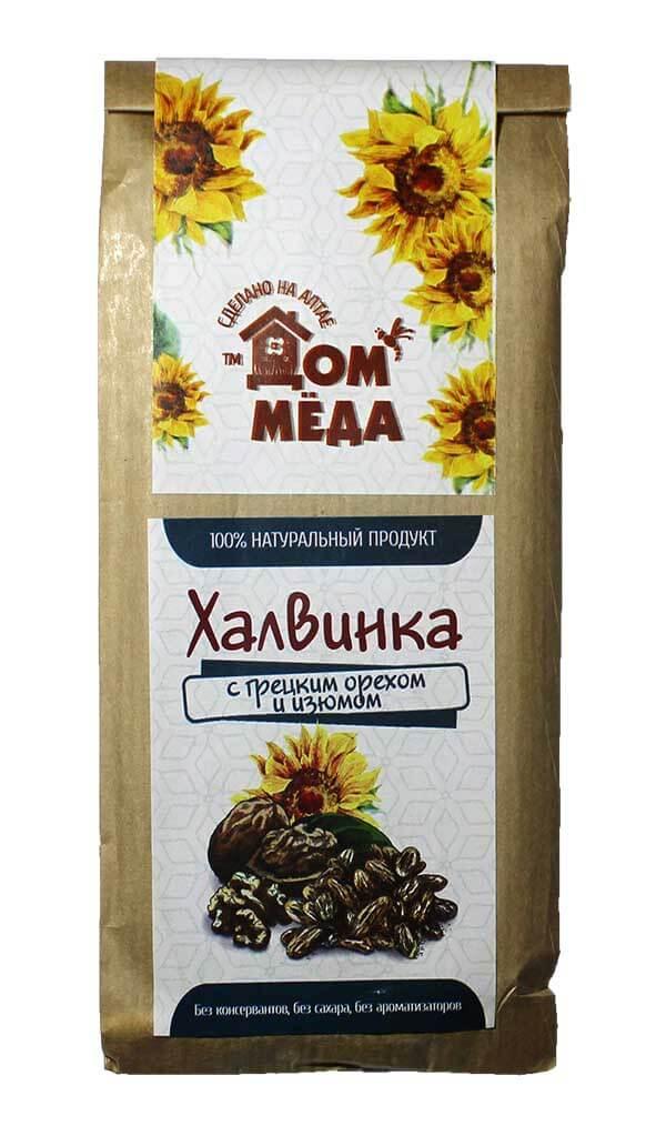 «Халвинка» Медово-подсолнечная композиция с грецким орехом и изюмом 120 г