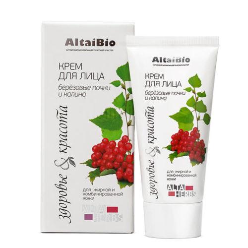 AltaiBio Крем для Лица для Жирной и Комбинированной Кожи «Берёзовые Почки и Калина» 50 мл