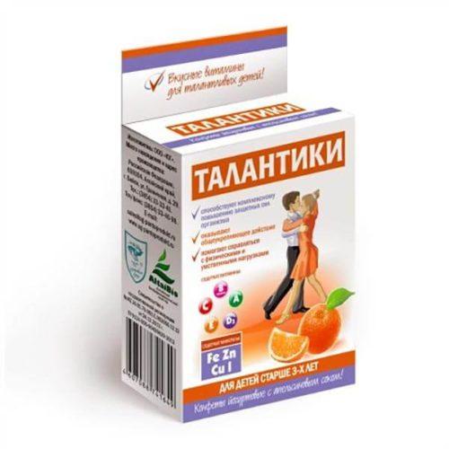 Конфеты йогуртовые «Талантики» общеукрепляющие, с апельсиновым соком 70 гр