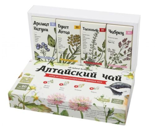 Подарочный набор чая «Алтайский чай» , 4 шт по 20 ф-п.