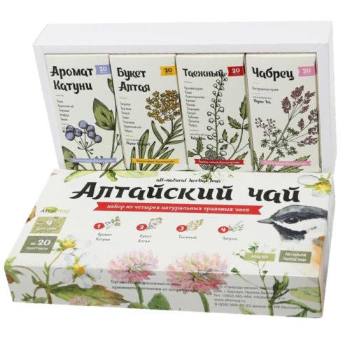 АлтайМаг подарочный набор чая «Алтайский чай» 4 предмета