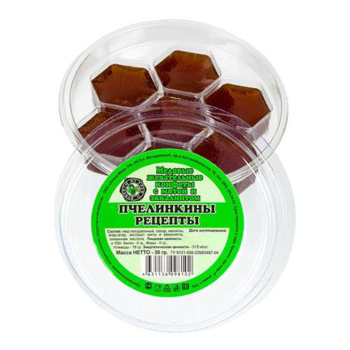 """Медовые жевательные конфеты с мятой и эвкалиптом """"Пчелинкины рецепты"""" 30 г"""