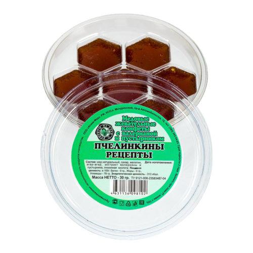"""Медовые жевательные конфеты с валерианой и пустырником """"Пчелинкины рецепты"""" 30 г"""