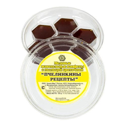 """Медовые жевательные конфеты с пыльцой цветочной """"Пчелинкины рецепты"""" 30 г"""
