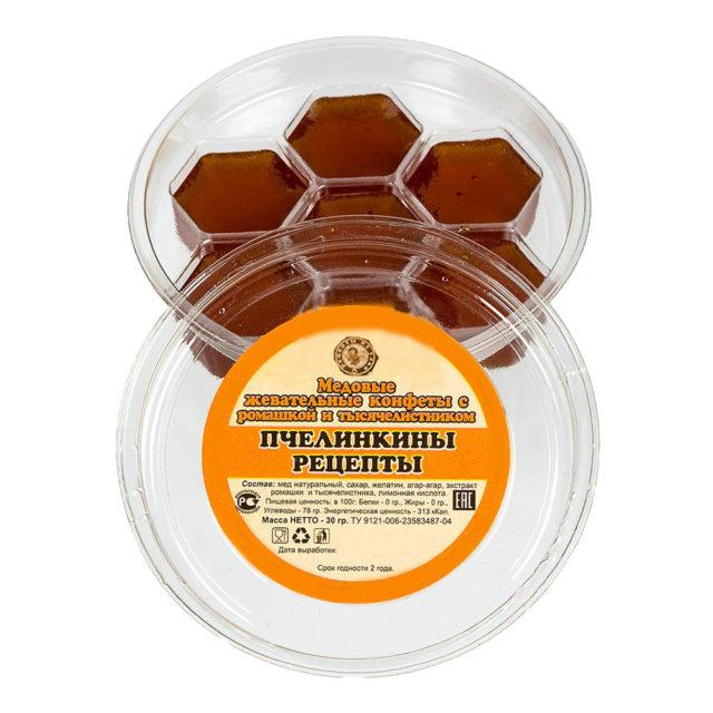 """Медовые жевательные конфеты с ромашкой и тысячелистником """"Пчелинкины рецепты"""" 30 г"""