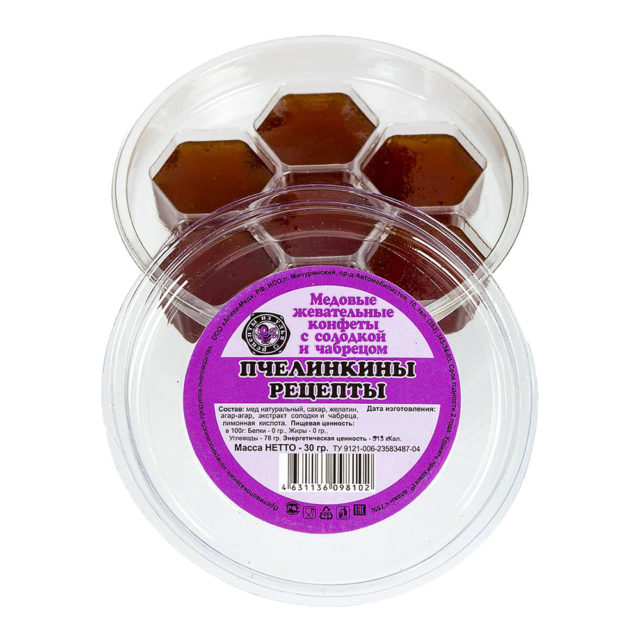 """Медовые жевательные конфеты с солодкой и чабрецом """"Пчелинкины рецепты"""" 30 г"""
