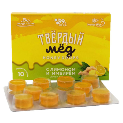 Твердый мед с лимоном и имбирем 30г