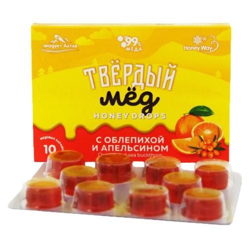 Твердый мед с облепихой и апельсином 30 г